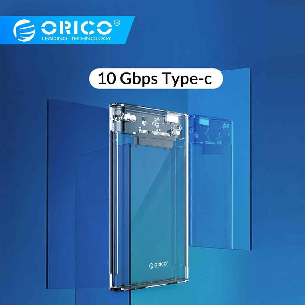 أوريكو شفاف 2.5 ''HDD نوع C USB3.0 USB3.1 Gen2 القرص الصلب الضميمة دعم بروتوكول UASP مع نوع C إلى C كابل