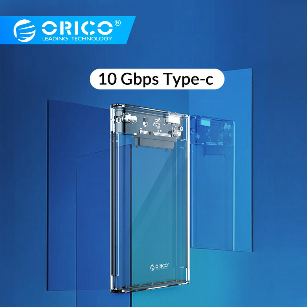 ORICO Transparent 2.5'' HDD Case Type C USB3.0 USB3.1 Gen2 Hard Drive Enclosure Support UASP Protocol With Type-C To C Cable