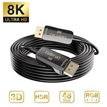 Fibra 8K Cabo DisplayPort DP 1.4 HBR3 8 4K K @ 60Hz 4K @ 144Hz Alta Velocidade 32.4Gbps Fibra Óptica DP para DP Cabo Fino e Flexível
