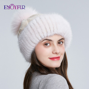 Image 2 - Enjoyfur冬のミンクの毛皮ニットウール帽子女性キツネの毛皮のポンポンだらしないビーニーファッション暖かいスタイルキャップ青少年のための
