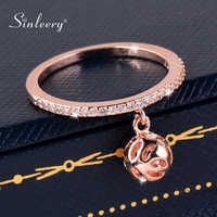 SINLEERY Trendy Hollow Ball Pendant Rings With Tiny Crystal Women Rose Gold Silver Color Wedding Jewelry Dropshipping Jz191 SSE