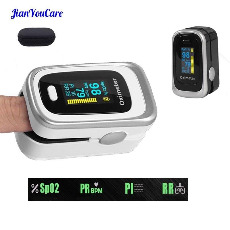 Oxymètre Oled du bout des doigts SPO2 PR PI RR oxygène sanguin avec fréquence respiratoire Oximetro De Pulsioximetro Dedo avec étui