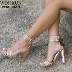 WDHKUN Ladies Bandage Transparent Sexy Summer Party Flock Sandal Shoes 35-42 SizeWomen Ankle Strap High Heel Sandals Shoes