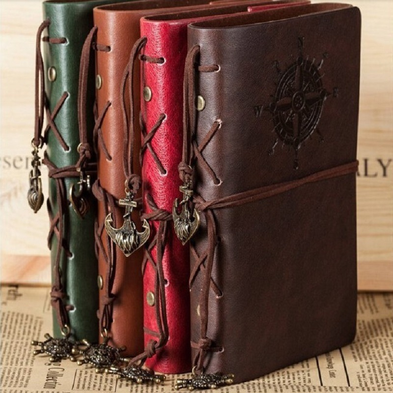 Retro Spiral Notebook Diary Notepad Vintage Note Book Pirate Anchors PU Leather Replaceable Stationery Gift Traveler Journal