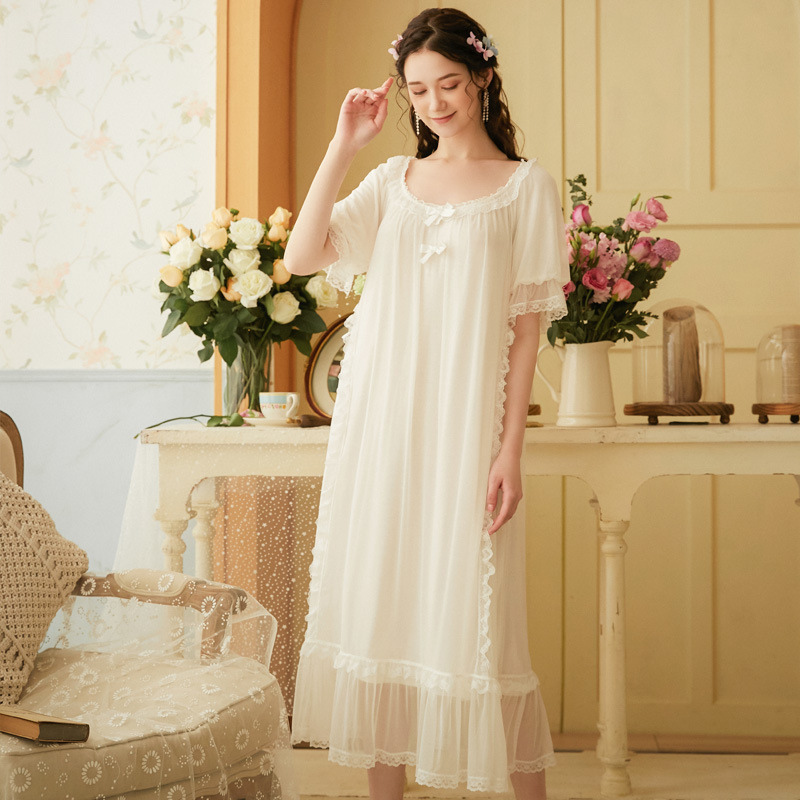 Womens Soft Elegant Long Nightgowns Female Sweet Princess Sleeping Home Dress Lady Lace Sexy White Mesh Nightdress Nightclothes