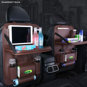 Bolso de cuero Pu, organizador de asiento trasero de coche, bandeja de viaje, bolsa de almacenamiento, mesa de comedor plegable para Toyota RAV4 RAV-4 2019 2020