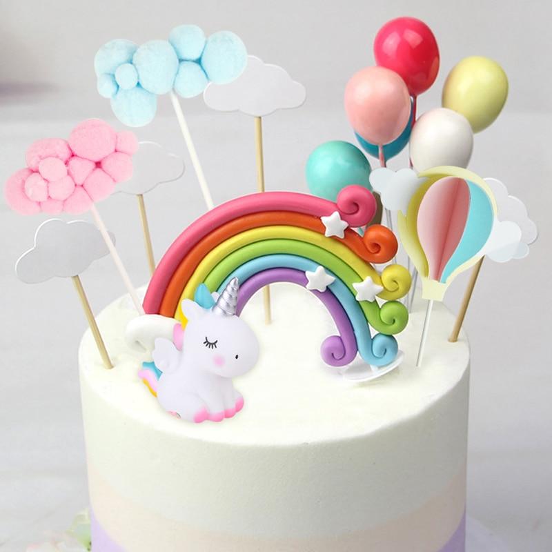 Rainbow Unicorn Cake Topper Wedding Birthday Cake Decoration Cloud Balloon Cake Flags Cupcake Topper Unicorn Party Supplies in Cake Decorating Supplies from Home Garden