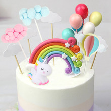 Rainbow Unicorn Cake Topper Wedding Birthday Cake Decoration Cloud Balloon Cake Flags Cupcake Topper Unicorn Party Supplies(China)