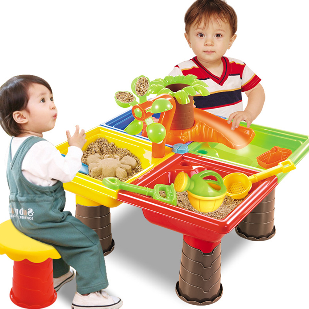 Kids Seaside Bucket Sand Table Beach Toy Set For Children Desk Digging Pit Sandglass Play Outdoor Summer Garden Water