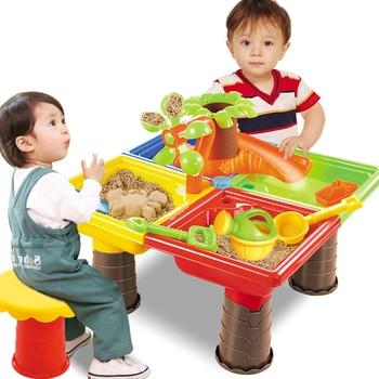 Kids Seaside Bucket Sand Table Beach Toy Set For Children Desk Digging Pit Sandglass Play Outdoor Summer Garden Water