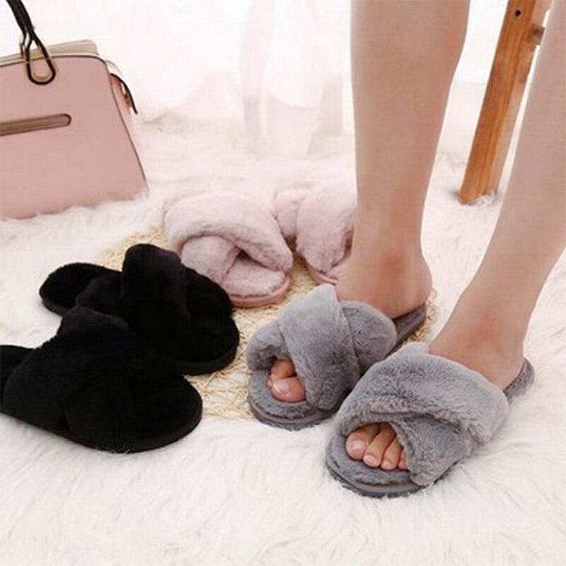 Теплые меховые тапочки; Женская повседневная обувь; Новая зимняя Милая обувь; Женские домашние тапочки|Тапочки|   | АлиЭкспресс
