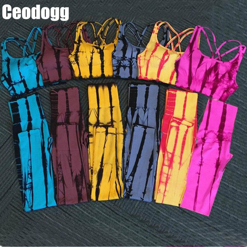 Mulher sem Emenda da Listra Desgaste da Aptidão Roupas de Ginástica Terno para Yoga Grupo Aptidão Pcs Ternos Emagrecimento Sportswear Feminino 2020 2