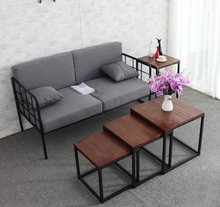 Simple Solid Wood Coffee Table for Living Room Sofa TV Stand Corner Side End Table Retro Iron legs Square 3 sets
