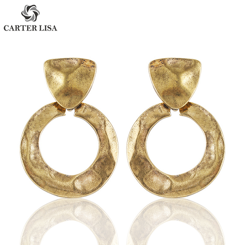 CARTER LISA Fashion Design Metal Geometry Drop Earrings Jewelry Hot Statement Vintage Maxi Dangle Earrings For Women Wholesale