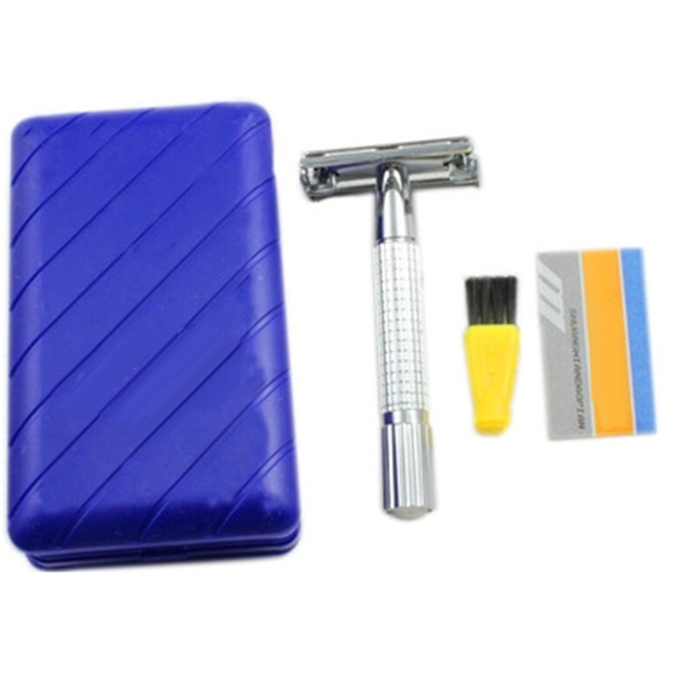 New Stainless Steel Men'S Traditional Double-Edge Blade Safety Razor Hair Beard Silver Manual Shaver For Personal Use
