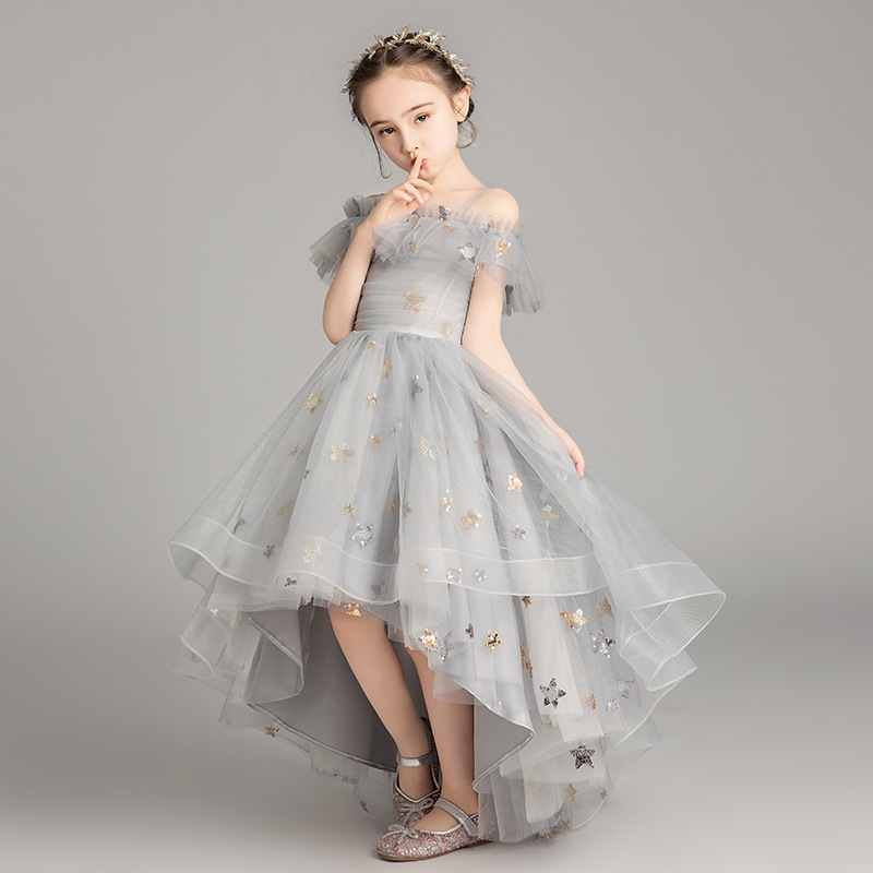 Flower Girl Gowns 2020 New Girl's Formal Dress Ponchos Piano Show Host Summer Princess Dress Birthday Ceremony Wedding Dress