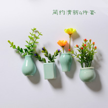 Ceramic Flower vase Plants Creative Refrigerator Magnet Tiles Souvenirs Chinese Style Home Decoration magnets for refrigerators dubai tourist souvenirs fridge magnets khalifa tower saudi arabia refrigerator commemorative magnet stickers home decoration