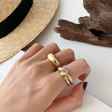 Silvology 925 Sterling Silver Double Loop Rings Glossy Multi-wear Minimalist Elegant Korea for Women Fashionable Jewelry