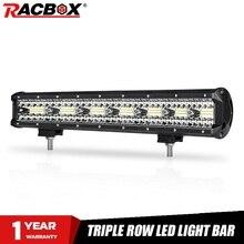 "RACBOX 20 بوصة الثلاثي صف LED قضيب مصابيح عملي واسعة الفيضانات شعاع 420 واط 12 فولت 24 فولت سيارة شاحنة 4WD ATV UTV قارب 20 ""LED القيادة مصباح العمل"