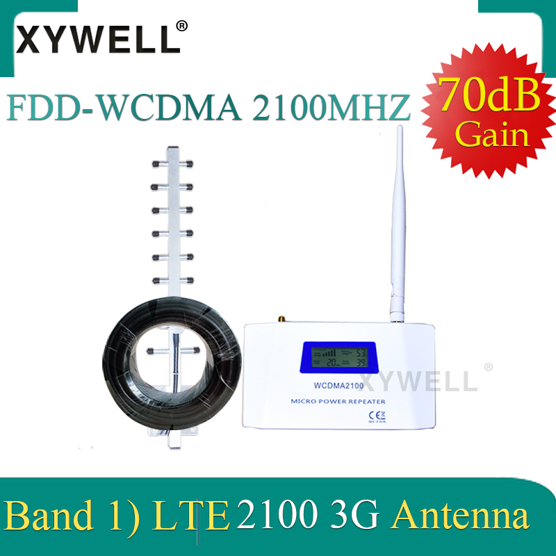 XYWELL 70dB Gain 3G Repeater 2100Mhz Signal Booster 3G 2100 Amplifier UMTS WCDMA Band 1 Mobile Phone Amplifier With 4G Antenna