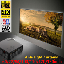 Projector-Screen Outdoor Portable Theater Home Led 84 for Travel 60-72 100-110-120-130inch