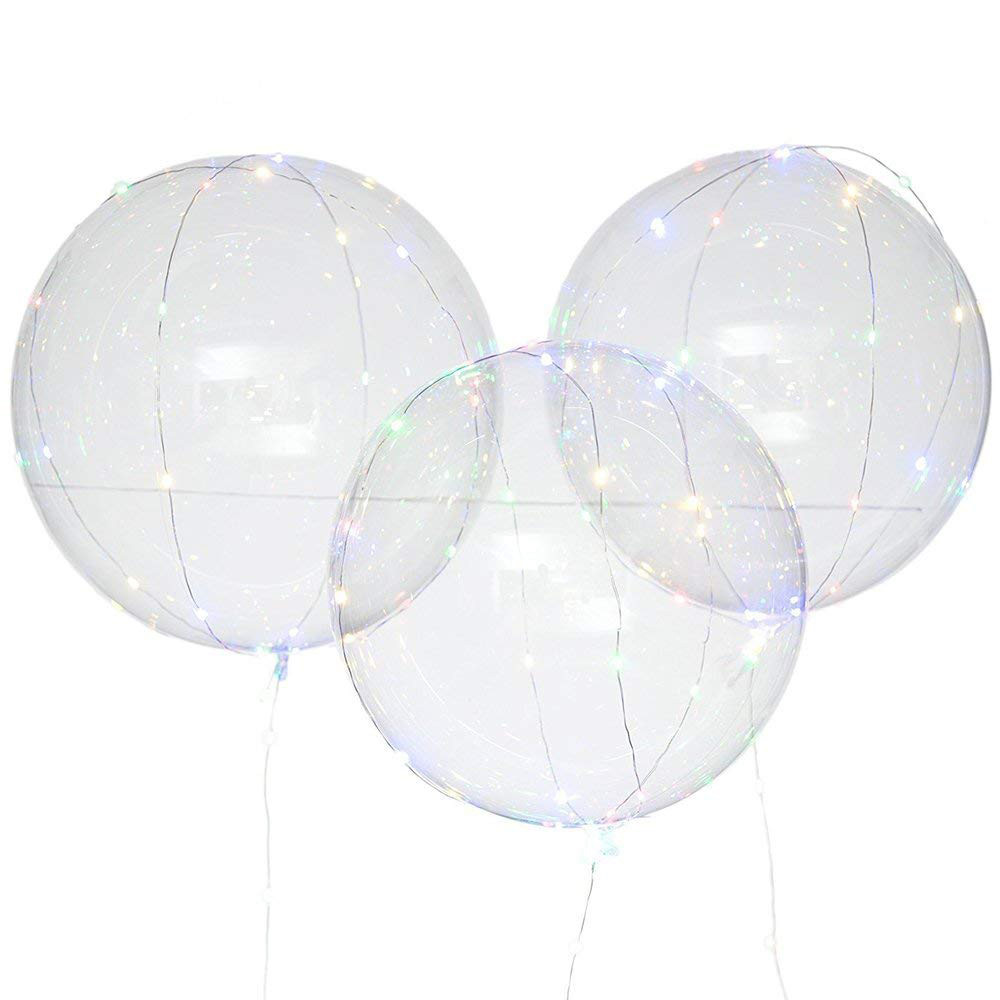 3Pcs Reusable Luminous Led Balloon Transparent Round Bubble Decoration Party