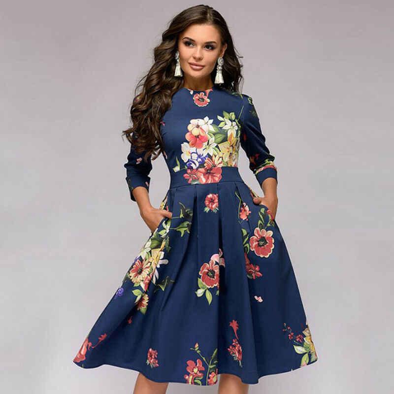 Outono e inverno senhoras retro vestido de mangas compridas floral estampado vestido fino baile de formatura festa à noite multicolorido elegante vestido de impressão