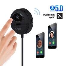 Kript Bluetooth 5.0 araç kiti Handsfree alıcı iki cep telefonu bağlamak destek APTX