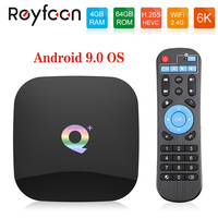 Q Plus 4GB RAM 64GB ROM Android 9.0 TV Box Allwinner H6 Quad Core USD3.0 6K HDR 2.4GHz Wifi Support Google Player Youtube Set To