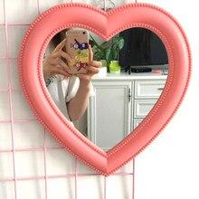 Pink Love Mirror Desktop Makeup Mirror Wall Mounted Dual-Use Vanity Mirror Girl Room Wall Decoration Heart-Shaped Mirror