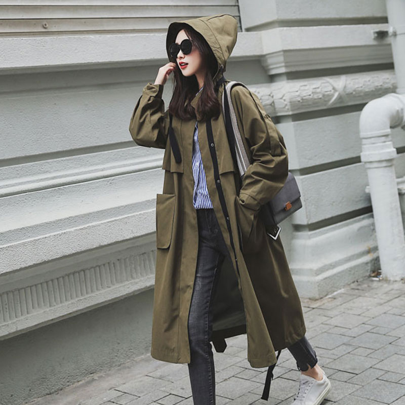 New Fashion 2019 Fall Autumn Women Casual Oversized Large Pockets Loose   Trench   Coat Chic Female Windbreaker