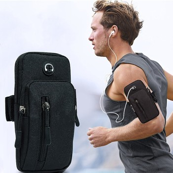 Running Men Women Arm Bags for Phone Money Keys Outdoor Sports Arm Package Bag with Headset Hole Simple Style Running Arm Band