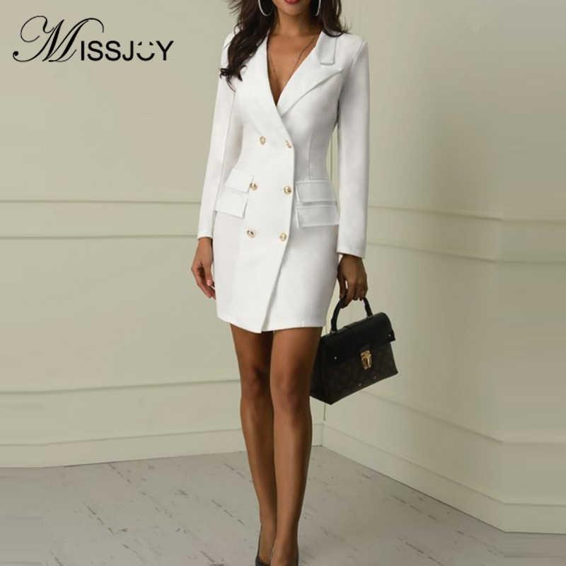 MISSJOY 2019 осень v-образный вырез поло прямой Женский блейзер платье офисная работа элегантные женские двойные пуговицы карман Vestidos черный белый