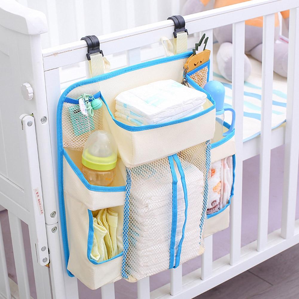 Diapers Organizer Baby Crib Durable Storage Bag Multi Pockets Heavy Duty Waterproof Bedding Nursery Hanging White Portable