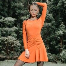 Платье для латинских танцев, оранжевое, с кисточками, с длинным рукавом, платья для женщин, новинка, сексуальная одежда для тренировок, женская одежда для бальных танцев DWY2485
