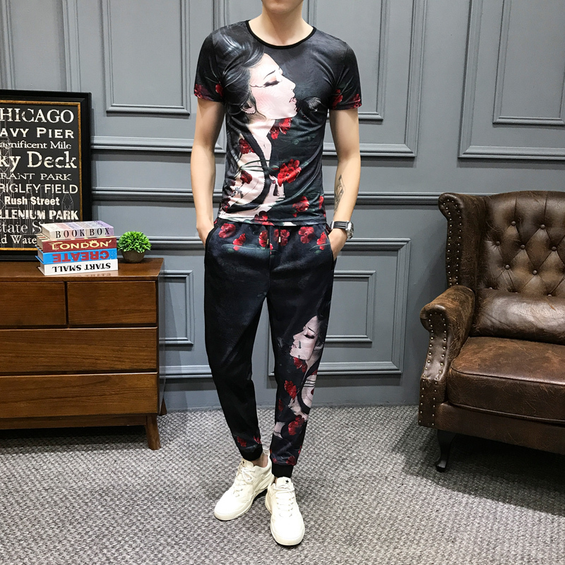 2020 Spring 2 Piece Set Men Girl Print Outfits Men Set Short Sleeve T Shirt 2 Piece Set Top And Pants Men High Quality Tracksuit