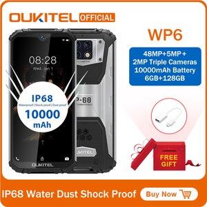 Смартфон OUKITEL WP6, 6,3 дюйма, 19,5: 9 дюймов, MT6771T, водонепроницаемый, с защитой от пыли, 9 В/2 А, 10000 мАч, 48 МП, с тройной камерой, 6 ГБ, 128 ГБ