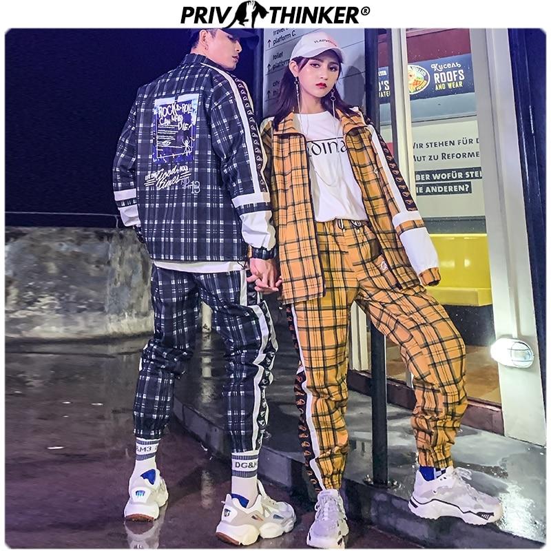 Privathinker 2020 Hip Hop Street Dance Men's Sets Two-piece Set Plaid Printed Loose Suit Couple Clothes Autumn Fashion Tracksuit