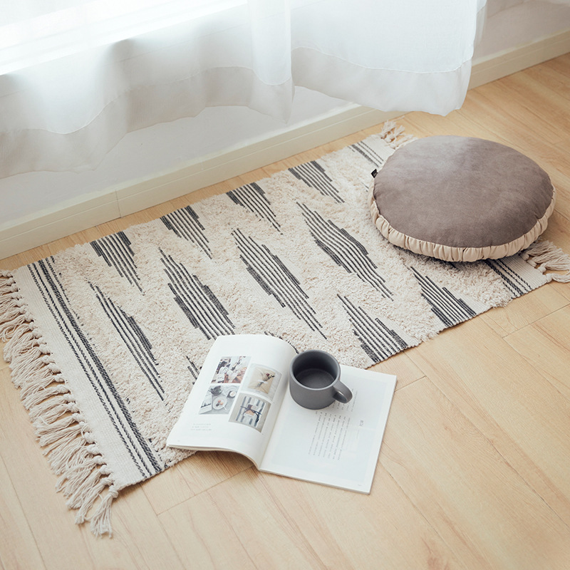 Morocco Cotton Hand Woven Printed Area Rugs Tufted Tassels With Anti Skid Pad Throw Rug Machine Washable Bath Mat,Doormat Carpet