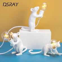 Светодиодная лампа настольная настольный светильник Постмодерн Смола животных крыса стол с мышкой лампа маленькая мини мышь милый светодиодный ночник домашний декор настольные огни с лампой