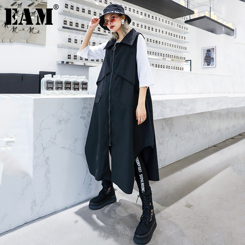 [EAM] Women Loose Fit Print Spliced Pocket Causal Long Vest New Hooded Collar Sleeveless Fashion Tide Spring Autumn 2019 1A046