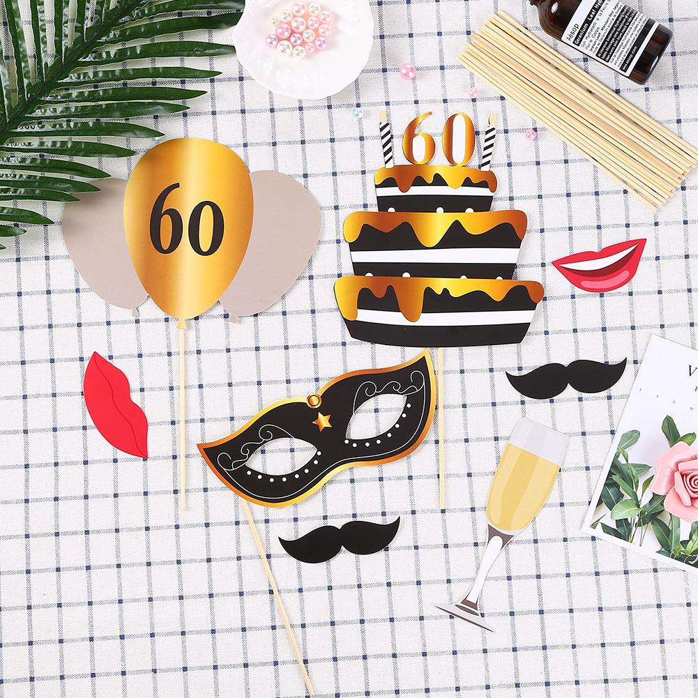 24PCS/Set 30/50/<font><b>60th</b></font> Happy <font><b>Birthday</b></font> Photo Booth Props Mask Photobooth Adult Party <font><b>Birthday</b></font> <font><b>Decoration</b></font> Photobooth image