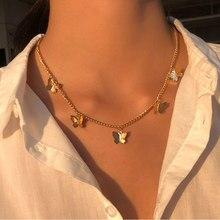 Vintage multicamada pingente borboleta colar para mulher borboletas lua estrela charme gargantilha colares boho jóias presente de natal