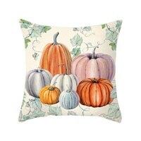 Pumpkin Pattern Design Throw Cushion Cover Supper Soft Peach Velvet Decorative Pillowcase Holiday Sofa Chair Car Bed Decor