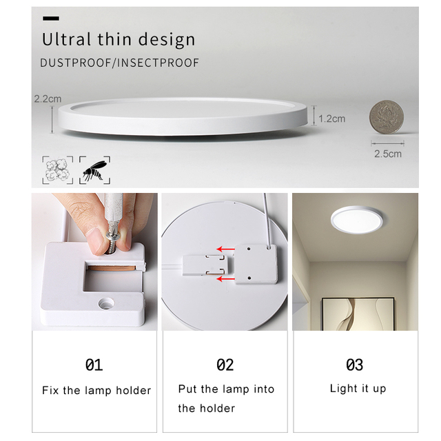 LED Ceiling Light 6W 9W 13W 18W 24W Modern Surface Ceiling Lamp AC85-265V For Kitchen Bedroom Bathroom Lamps 2