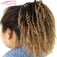Drawstring Ponytail Human-Hair-Extensions Kinky Curly Tinashe-Beauty for Women Blonde