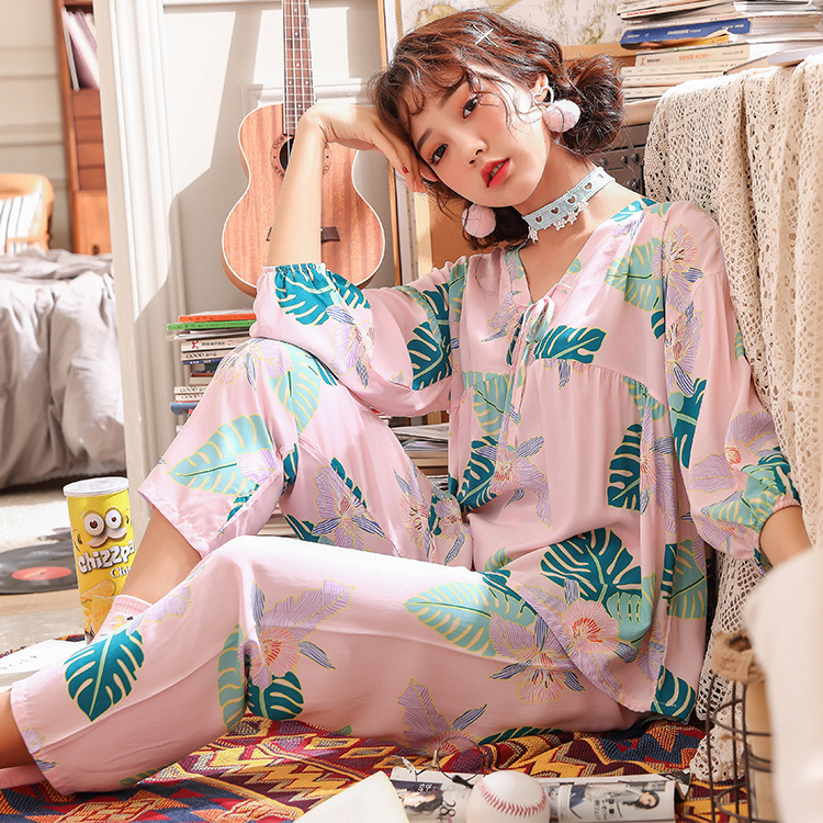 Lisacmvpnel Nine Part Sleeve Women Pajamas Suit Cotton Silk V Lead Sweet Pyjamas