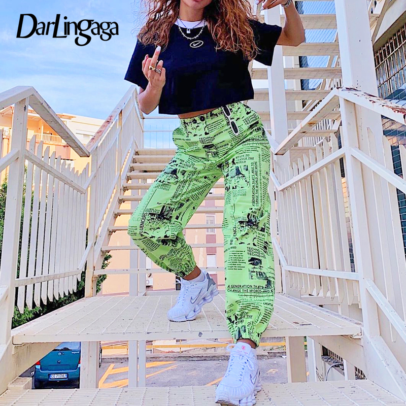Darlingaga Casual Newspaper Printed Winter   Pants   Women Joggers Streetwear Trousers Hip Hop Track High Waist   Pants     Capri   Pantalon