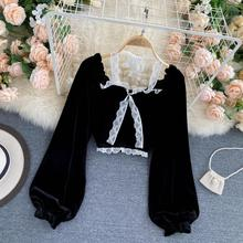 Sexy Halter Lace Patchwork Short Blouse For Women Casual Puff Sleeve Velvet Shirt Female Black Tops New Fashion Autumn Winter