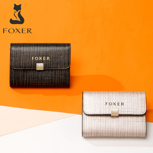 Image 2 - FOXER Brand Womens ID Case Mini Wallet Business Card Holder Female Purse Coin Packet Lady Mini Large Capacity Card Slot